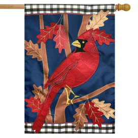 Fall Cardinal Applique House Flag