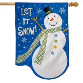 Let It Snow Snowman Applique Winter House Flag