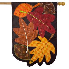 Fallen Leaves Applique Autumn House Flag