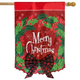 Merry Christmas Wreath Applique House Flag