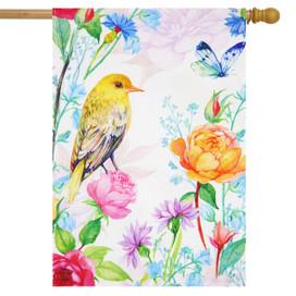 Whimsical Bird Spring Burlap House Flag