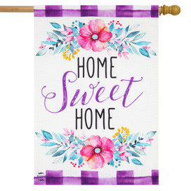 Floral Home Sweet Home Spring Burlap House Flag