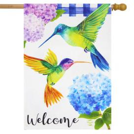 Hummingbirds and Hydrangeas Spring Burlap House Flag