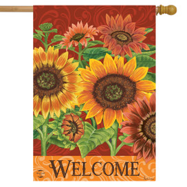 Colorful Sunflowers Fall House Flag