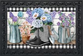 Checkered Garden Boots Spring Doormat