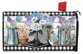 Checkered Garden Boots Spring Mailbox Cover