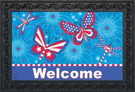 American Butterflies Patriotic Doormat