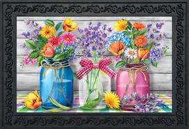 Spring Floral Jars Rustic Doormat