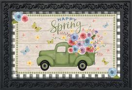 Happy Spring Pickup Truck Floral Doormat