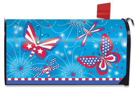 American Butterflies Patriotic Mailbox Cover