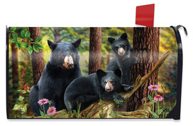 Black Bear Family Nature Mailbox Cover