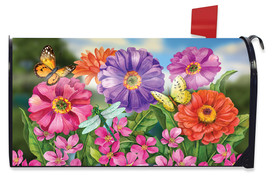Zinnias In Bloom Spring Mailbox Cover