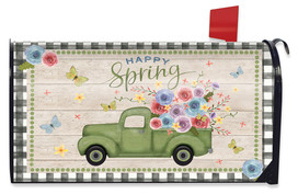 Happy Spring Pickup Truck Floral Mailbox Cover