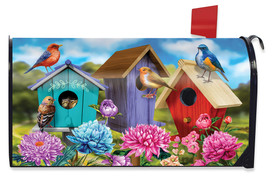 Colorful Birdhouses Spring Mailbox Cover