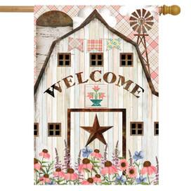 Barn In Bloom Primtive House Flag
