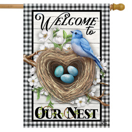 Welcome To Our Nest Inspirational House Flag