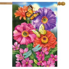 Zinnias In Bloom Spring House Flag