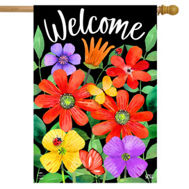 Whimsy Flowers Spring House Flag