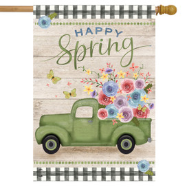 Happy Spring Pickup Truck Floral House Flag