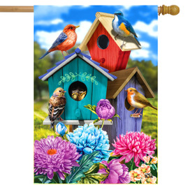 Colorful Birdhouses Spring House Flag