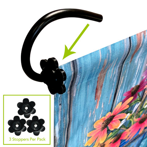 3-pack Floral Design Garden Flag Stand Rubber Stoppers