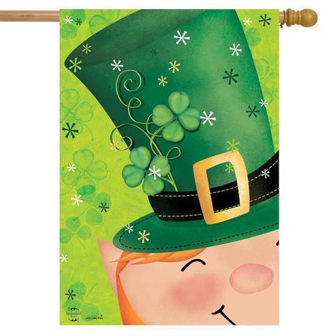 Lucky Hat Leprechaun House Flag