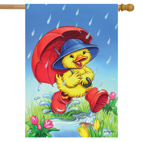 April Showers Duck Spring House Flag