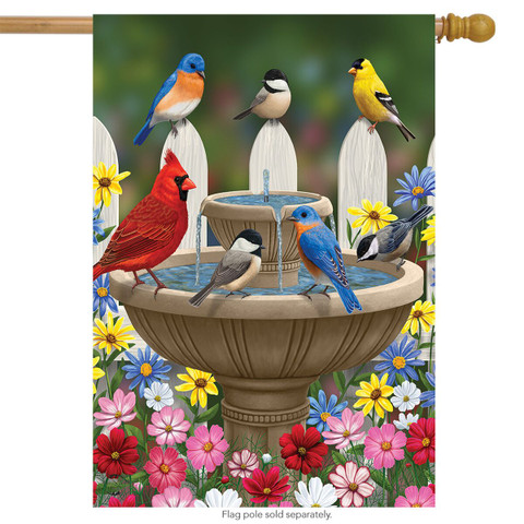 Birdbath Gathering Seasonal House Flag