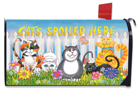 Cats Spoiled Here Floral Magnetic Mailbox Cover