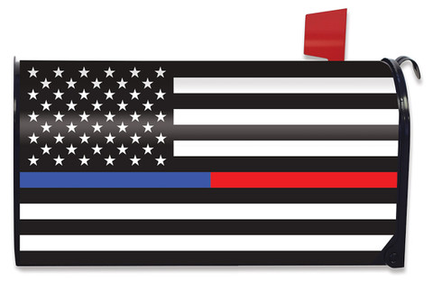 Thin Blue & Red Line Magnetic Mailbox Cover