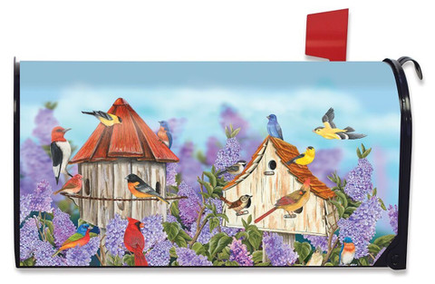Birds and Lilacs Spring Magnetic Mailbox Cover