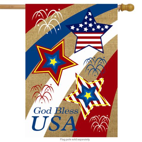 God Bless USA Burlap House Flag