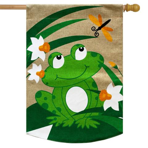 Happy Frog Burlap House Flag