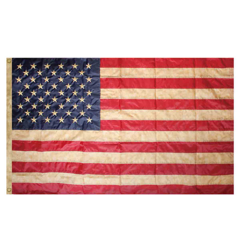 Tea Stained American Flag Embroidered Grommet Flag