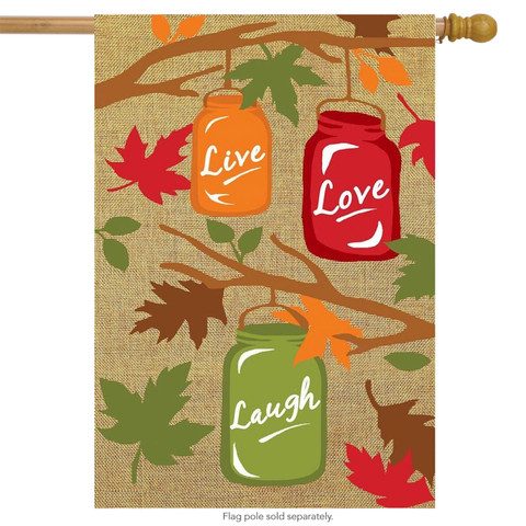Fall Mason Jar Burlap House Flag