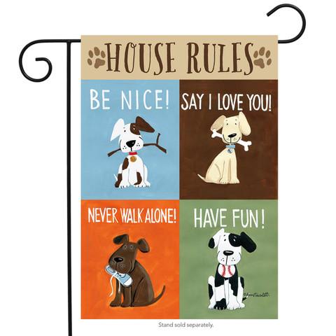 House Rules Dog Humor Garden Flag