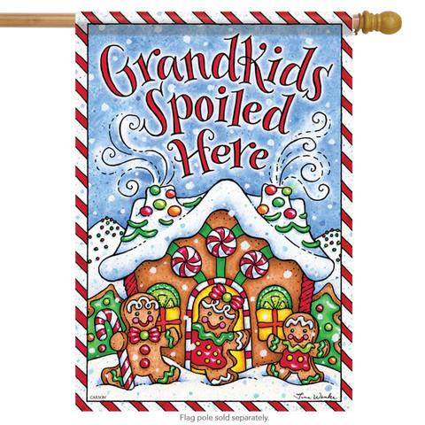 Grandkids Gingerbread House Flag