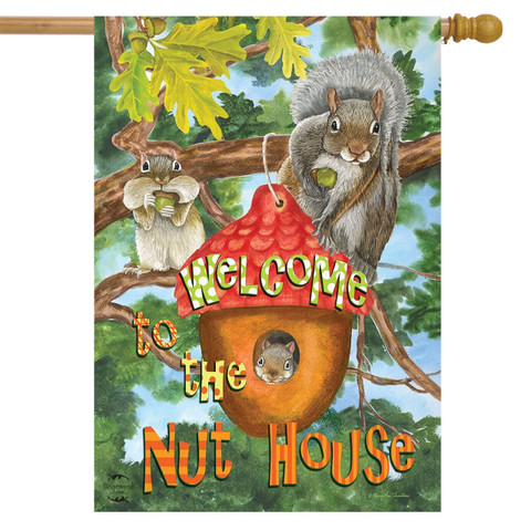 Welcome to the Nut House Summer House Flag