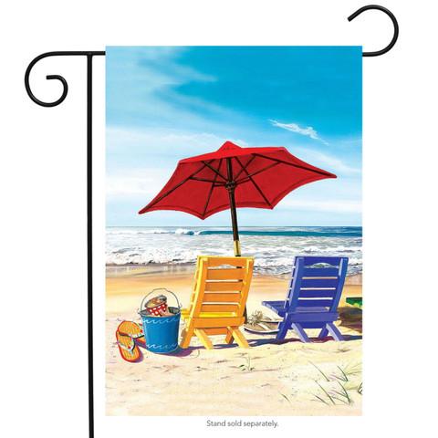 A Day at the Beach Summer Garden Flag