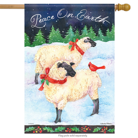 Holiday Sheep Christmas House Flag