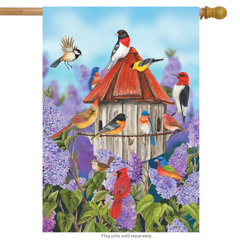Birds and Lilacs Spring House Flag