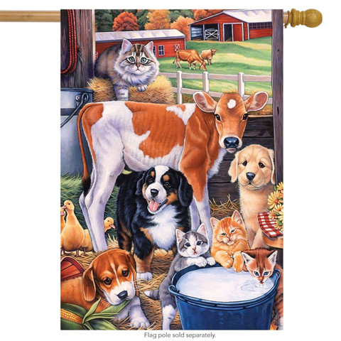 Animals in the Barn Spring House Flag