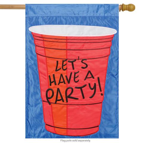 Let's Have a Party Applique House Flag