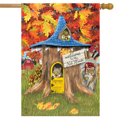 Fall Nut House Squirrels House Flag