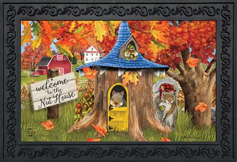 Fall Nut House Squirrels Doormat