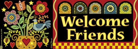 Pennyrug Hearts & Flowers Welcome Friends Primitive Mailbox / Door Magnet