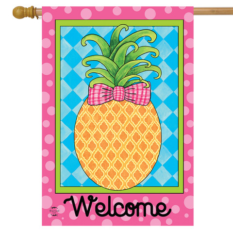 Pineapple Welcome Spring House Flag