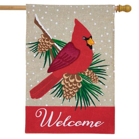 Cardinal Winter Burlap House Flag