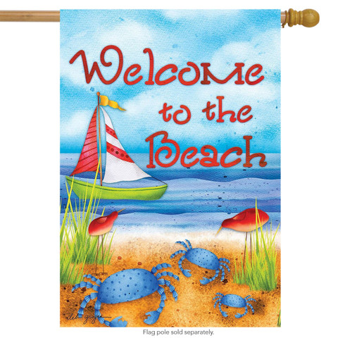Welcome to the Beach Sailboat House Flag