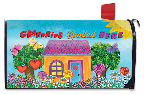 Grandkids Spoiled Here Floral Magnetic Mailbox Cover